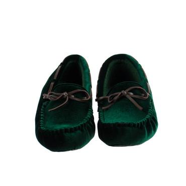 Ruby Brown Damen Hausschuh Halbschuh Textil Samt Grün – Bild 2