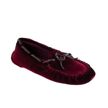 Ruby Brown Damen Hausschuh Halbschuh Textil Samt Rot – Bild 1