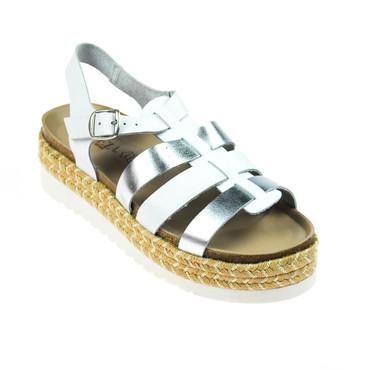 Carmela Damen Sandale Leder Weiß Silber – Bild 1