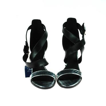 2.Wahl Manoukian Damen Sandale Pump Leder Schwarz Silber – Bild 2