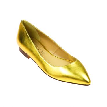 EYE Damen Ballerinas Halbschuh Leder Gold – Bild 1