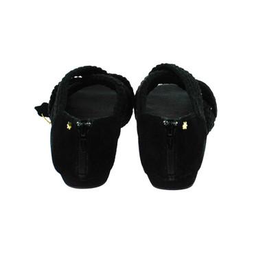 Flip Flop Damen Sandale Leder Textil Schwarz – Bild 3