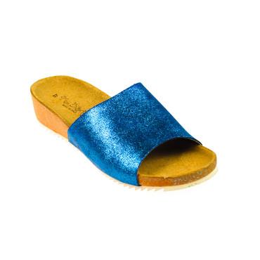 Miss Butterfly Damen Sandale Leder Blau glänzend – Bild 1