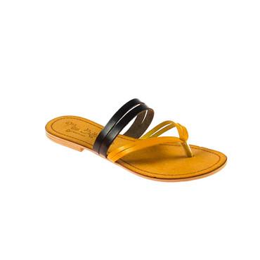 Miss Butterfly Damen Sandale Leder Gelb Braun – Bild 1