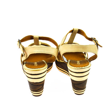 Zapato Damen Wedges Keilsandalette Leder Braun Beige – Bild 3