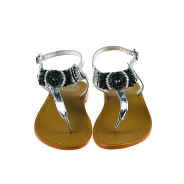 Golden Sun Damen Sandale Leder Silber Schwarz – Bild 2