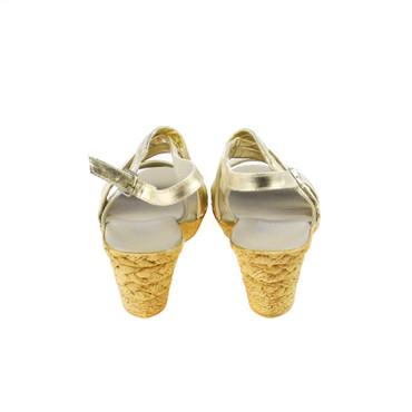 Andrea Conti Damen Keilsandalette Wedges Leder Gold – Bild 3