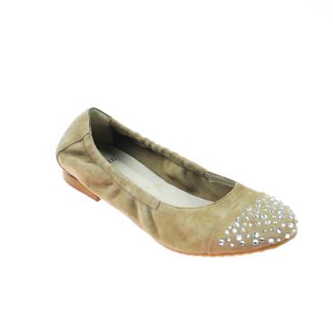 Perlato Damen Ballerina Wildleder Taupe mit Steinbesatz – Bild 1