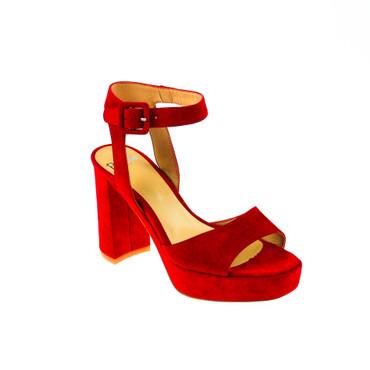 Perlato Damen Pumps Sandalen Wildleder Rot – Bild 1