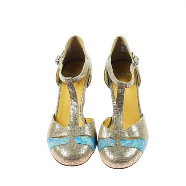 Perlato Damen Pumps Leder Beige Silber Blau – Bild 2