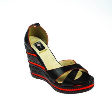 2.Wahl Giudecca Damen Keilpumps Pumps Wedges Sandalen Schwarz Rot – Bild 1