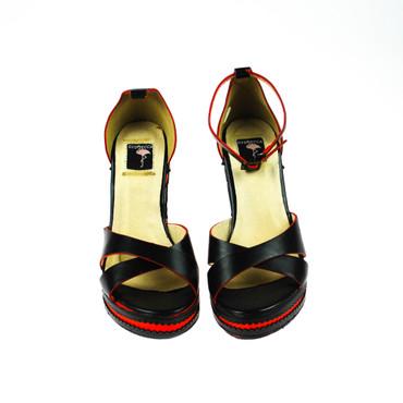 2.Wahl Giudecca Damen Keilpumps Pumps Wedges Sandalen Schwarz Rot – Bild 2