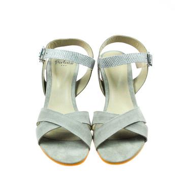 Perlato Damen Sandale Pumps Leder Grau Silber  – Bild 2