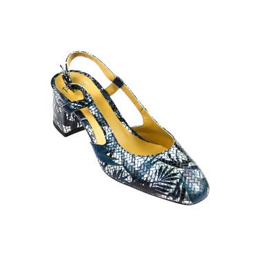 Perlato Damen Sandale Leder Blau Silber  – Bild 1