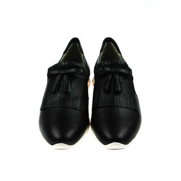 Perlato Damen Halbschuh Sneaker Leder Schwarz – Bild 2