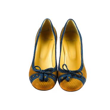 Perlato Damen Pumps Leder Braun Blau – Bild 2