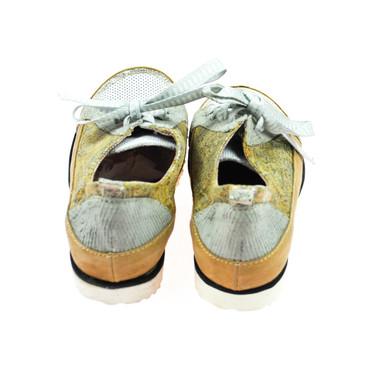 Charme Damen Sneaker Leder Braun Grau Gold – Bild 3
