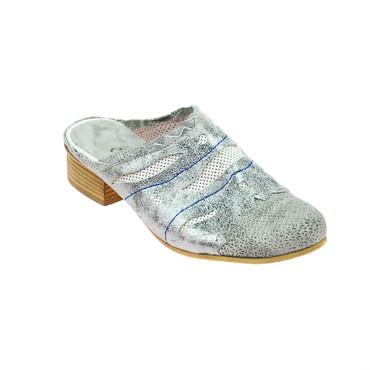 Charme Damen Halbschuhe offen Sandalen Leder Grau Silber Mehrfarbig – Bild 1