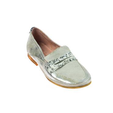 Charme Damen Halbschuh Leder Grau Silber  – Bild 1