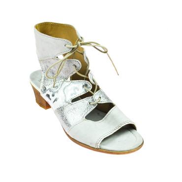 Charme Damen Sandale Halbschuh Leder Grau Silber Weiß – Bild 1