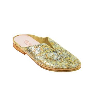 Charme Damen Halbschuh offen Sandale Leder Braun Silber Bronze Mehrfarbig – Bild 1