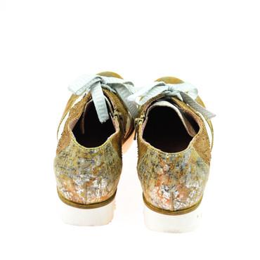 Charme Damen Halbschuh Leder Braun Gold Silber Weiß Mehrfarbig – Bild 3