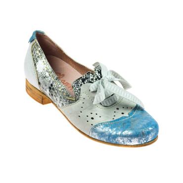 Charme Damen Halbschuh Leder Grau Blau Silber Mehrfarbig – Bild 1
