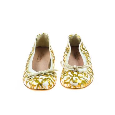 Charme Damen Ballerinas Leder Weiß Gold Mehrfarbig – Bild 2