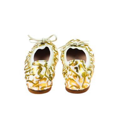 Charme Damen Ballerinas Leder Weiß Gold Mehrfarbig – Bild 3
