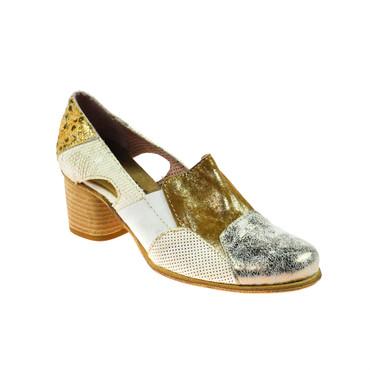 Charme Damen Halbschuh Leder Braun Gold Weiß Silber Mehrfarbig – Bild 1