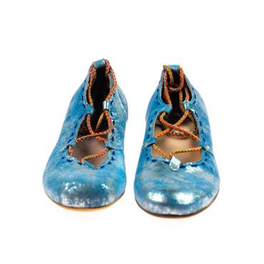 Charme Damen Ballerina Halbschuhe Leder Blau Silber Mehrfarbig – Bild 2