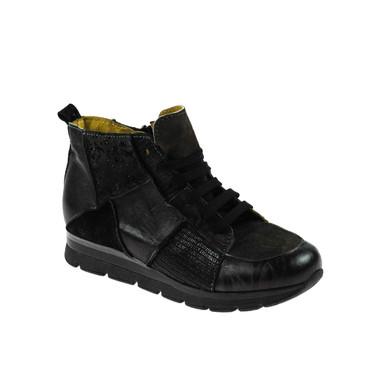 Charme Damen Sneaker High Top Leder Dunkelbraun Schwarz Grau Mehrfarbig – Bild 1