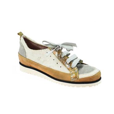 Charme Damen Halbschuh Sneaker Leder Braun Weiß Grau Mehrfarbig – Bild 1