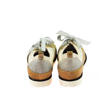 Charme Damen Halbschuh Sneaker Leder Braun Weiß Grau Mehrfarbig – Bild 3