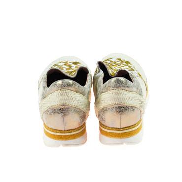 Charme Damen Halbschuh Sneaker Leder Silber Weiß Gold Grau Mehrfarbig – Bild 3