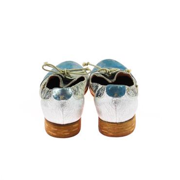 Charme Damen Halbschuh Leder Grau Blau Silber Mehrfarbig – Bild 3
