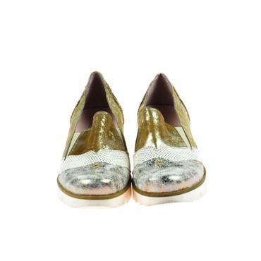 Charme Damen Halbschuh Sneaker Leder Braun Weiß Gold Bronze Silber Mehrfarbig – Bild 2