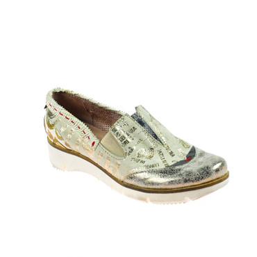 Charme Damen Halbschuh Sneaker Leder Grau Silber Weiß Rot Gold Mehrfarbig – Bild 1