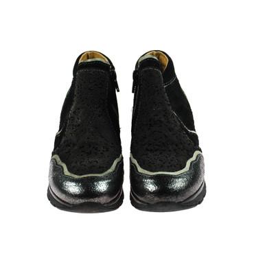 Charme Damen Sneaker High Top Leder Schwarz Dunkelgrau Weiß Mehrfarbig – Bild 2
