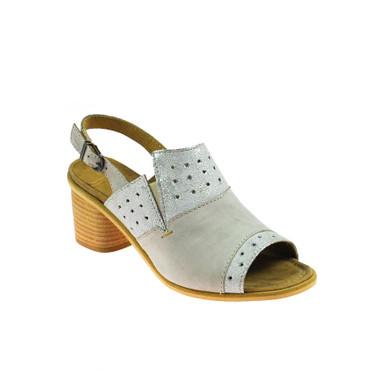 Charme Damen Halbschuhe offen Sandale Leder Grau Silber Braun Mehrfarbig – Bild 1