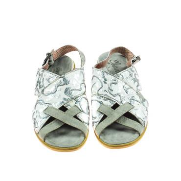 Charme Damen Halbschuhe offen Sandale Leder Weiß Silber Grau Mehrfarbig – Bild 2