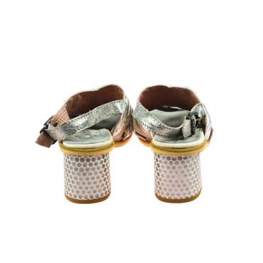 Charme Damen Halbschuhe offen Sandale Leder Weiß Silber Grau Mehrfarbig – Bild 3
