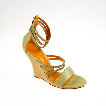 2.Wahl Kennel & Schmenger Damen Wedges Pumps Sandalen Leder Beige Orange – Bild 1