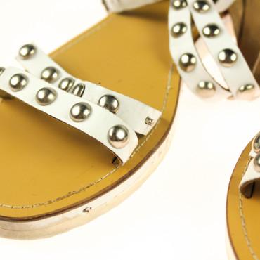 2.Wahl Friis Company Damen Sandalen Weiß Silber Braun – Bild 3