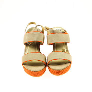 2.Wahl Pier One Damen Wedges Keilsandalen Leder Grau Taupe Orange – Bild 2