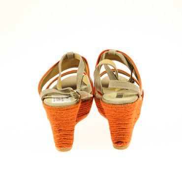 2.Wahl Pier One Damen Wedges Keilsandalen Leder Grau Taupe Orange – Bild 3