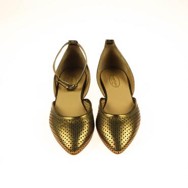 2.Wahl Nalini Damen Ballerinas Halbschuhe Leder Gold  – Bild 2