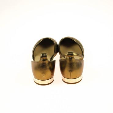 2.Wahl Nalini Damen Ballerinas Halbschuhe Leder Gold  – Bild 3