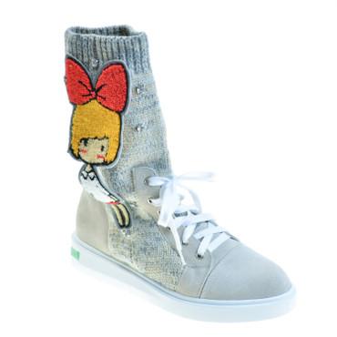Simple Step Damen Sneaker High Top Wildleder/Strick Beige – Bild 1
