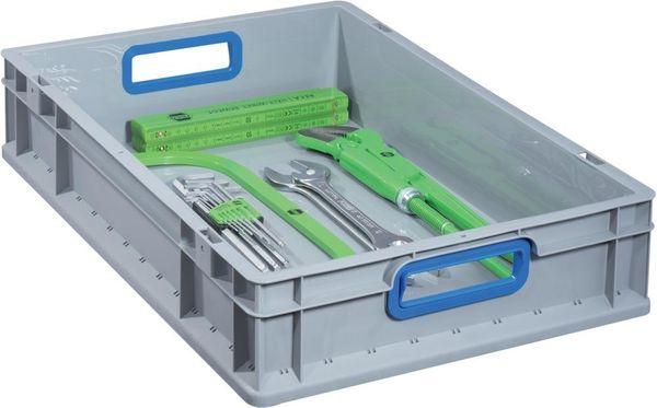 EuroBox 422,400x300x220mmGriffe offen,grau/blau
